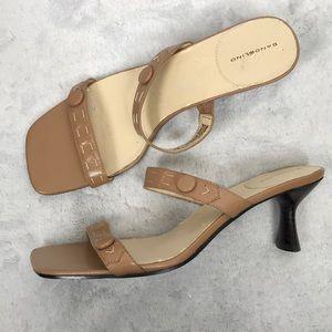 Bandolino tan leather square toe sandal